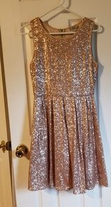 Gold sequined cocktail dress